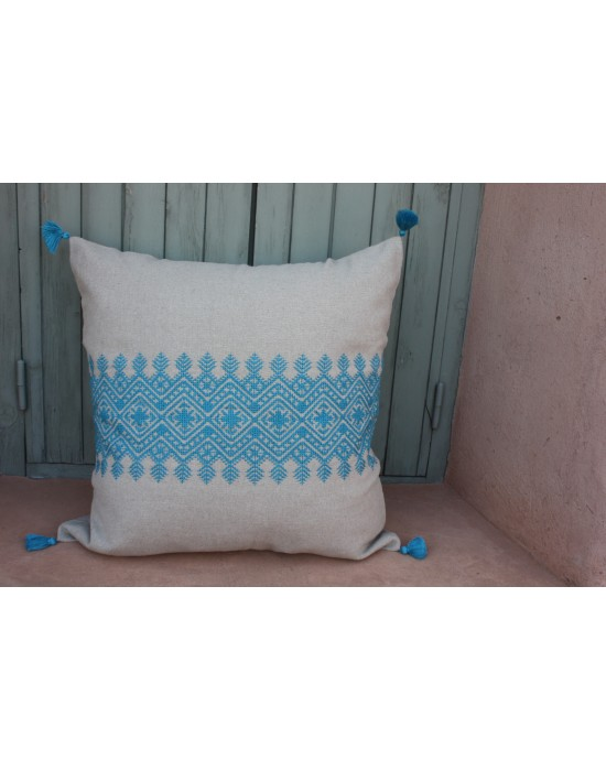 Coussin brodé Turquoise
